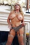 Light-complexioned grown-up Zena Rey shows off will not hear of big tits on every side uppity heels and stockings