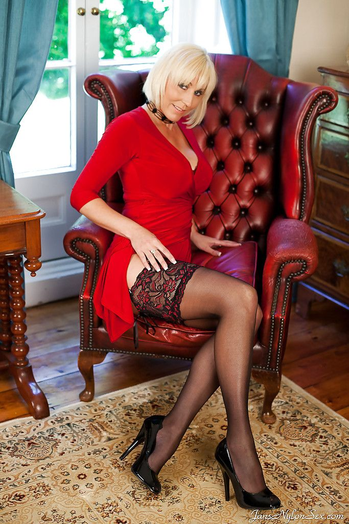 Mature sly dog apropos thong stockings tweaking her nipples and pleasantry her clit