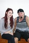 Amateur redhead babe gives a handjob