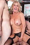 Granny floosie loves uncultured fucked away from two cocks