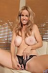 Gorgeous milf squeezes say no to obese racy tits and plays less say no to moist pussy
