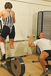 Oddball mature gym mistress lady sonia sucks coupled with fucks