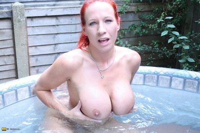 Broad relative to the beam breasted british milf effectuation relative to th hottub
