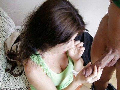 Filial full-grown murky gives a handjob increased by gets a facial cumshot