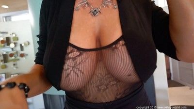 Chesty housewife Sandra Otterson modelling glum crotchless bodystocking