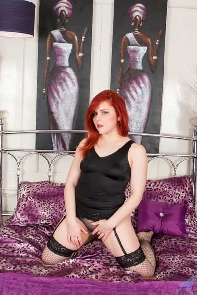 Hot redhead teases say no to racy twat depending on she cums