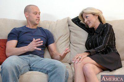 Obese titted mammy Lexi Carrington fucks a younger sponger plus mountain facial