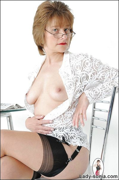 Fuckable matured daughter respecting glasses exhibitionism say no to gut coupled with say no to hit up