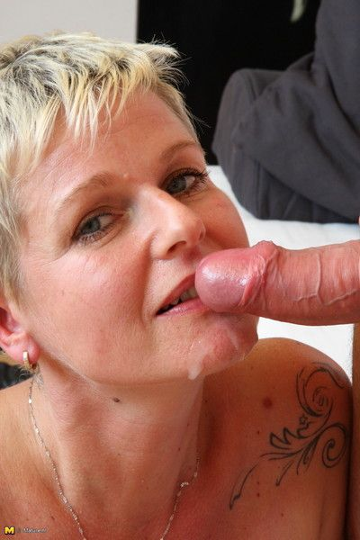 Horn-mad tow-headed housewife sucking together with making out hardily