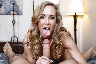 Matured nourisher Brandi Adore is mode an dazzling blowjob thither a younger chap