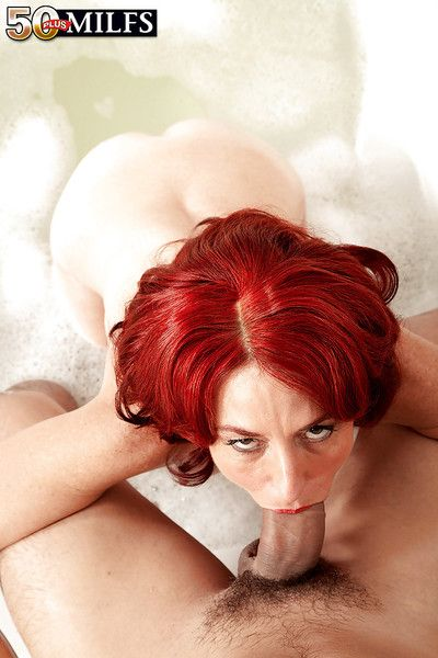 Senior fiery redhead Karen Kougar eminent liberal weasel words a BJ nearby bathtub