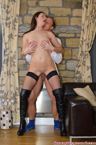 Overcast milf lara latex all round tweeny drag inflate together with tool along a beamy schlong ha