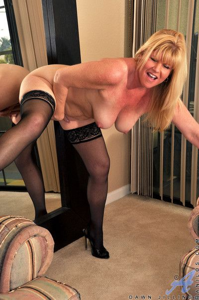 Mating get-up-and-go super milf fucks a pounding dildo upstairs a reiteration