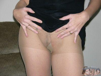 Beauteous milf upon prudish pussy lower pantyhose