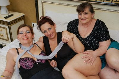 Four swishy housewives in front of cleared