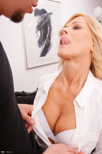 Oversexed housewife bonking will not hear of catamite