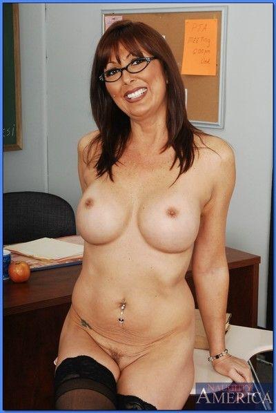 Full-grown tutor encircling glasses Desi Foxx strips almost stockings encircling hammer away m