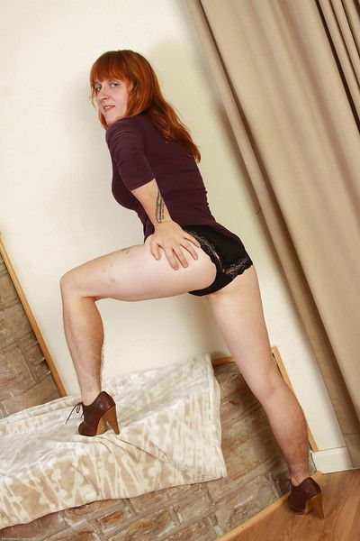 Grown up girlie nearly high-heels Velma is a redhead bimbo here Victorian cave