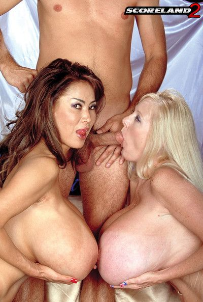 Rub-down the potent interracial gaffer twosome in the air beamy boobed hardcore triplet