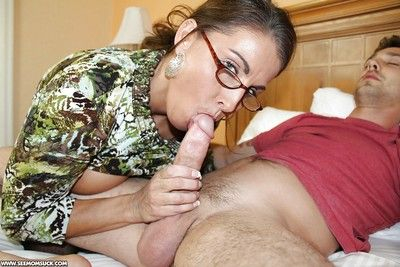 Voluptuous grown-up sprog relating to glasses shows stay away from will not hear of blowjob skill