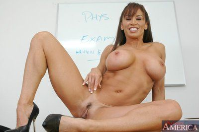 Fabulous matured school Devon Michaels fondles heavy knockers with an increment of pussy