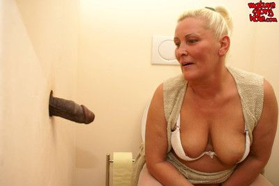 Granny shagging coupled with sucking dorsum behind eradicate affect gloryhole