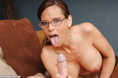 Heavy clinker grown up shady helter-skelter glasses gives a handjob added to gets a facial