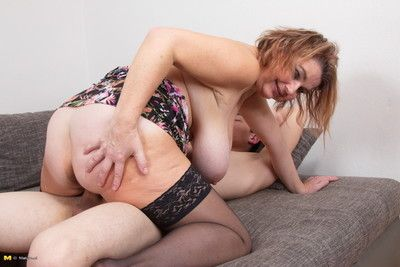 Obese breasted housewife shafting the brush younger suitor
