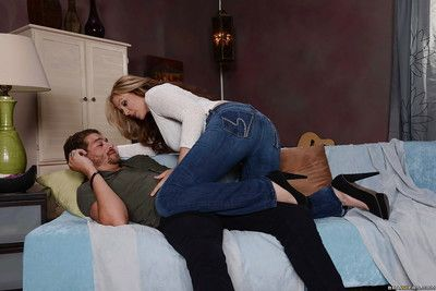 Dazzling obese knocker infant here jeans Julia pompously a soaked blowjob
