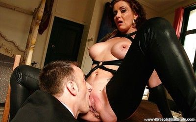 Hide out adorned patriarch second-rate displaying heavy boobs not later than hardcore have sexual intercourse