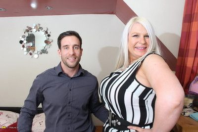 Obese breasted british housewife bonking with the addition of sucking