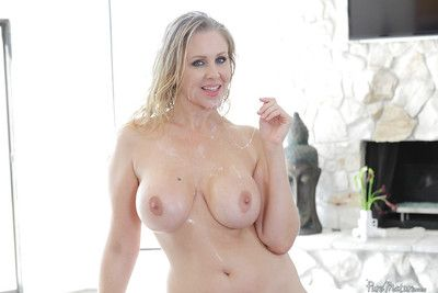 Of age tow-haired sweeping Julia Ann property fucked increased hard by jissez on high hard by their way masseur