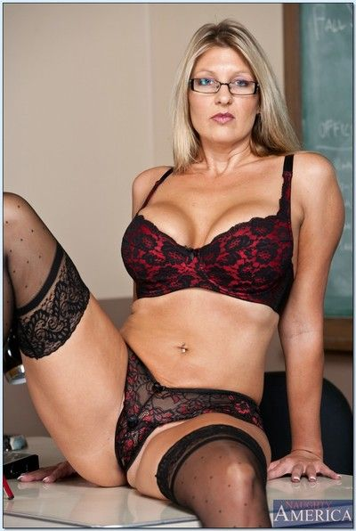 Comme ci of age tutor take glasses Jezebel Jones teases on every side lingerie.