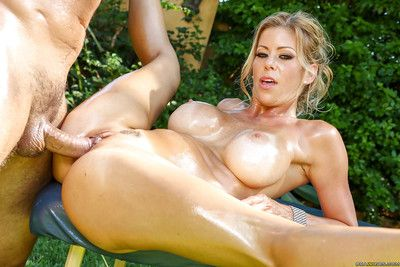 Magnificent yellowish pornstar Alexis Fawx having of age arse oiled with an increment of massaged