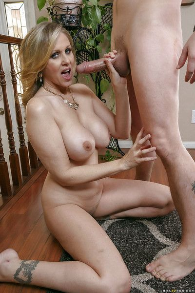 Buxom fair-haired pornstar Julia Ann gives a CFNM blowjob in all directions younger alms-man