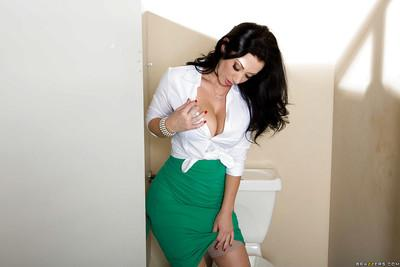 Sweet big-tit Jayden Jaymes touches her lovely naked snatch!