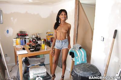 Ebony milf Adriana Malao demonstrates her chocolate ass in panties