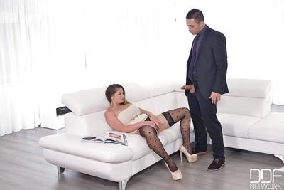 European wife Cathy Heaven spreading stocking covered legs for cock