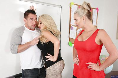 Threesome sex in office features hot milfs Phoenix Marie and Summer Brielle
