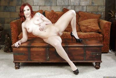 Chunky redhead solo girl Sophia Locke stripping off pink spandex pants