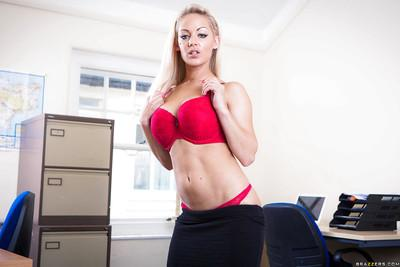 Milf blonde Loulou is undressing her amazing red lingerie on cam