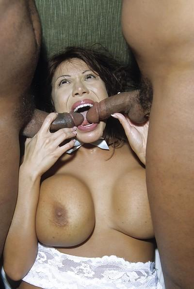 Asian bombshell Ava Devine has interracial foursome with three hung lads