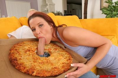 Slutty MILF with pierced tongue has a fervent threesome with hung pizza-guys