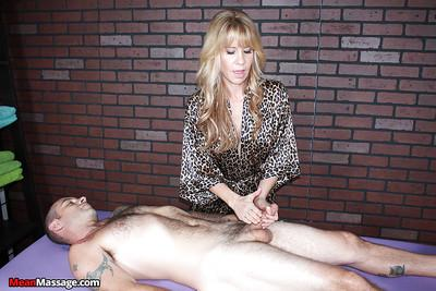 Glasses clad masseuse puts her hand over man