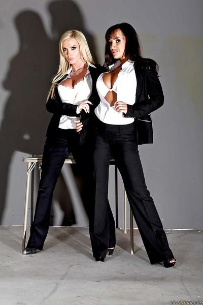 Two fabulous MILF pornstars Lisa Ann and Nikki Benz showing huge tits