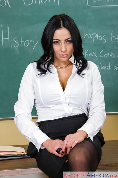 Shaved Milf teacher babe Audrey Bitoni posing in black stockings