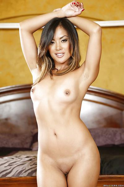 Tiny Asian mom Kaylani Lei strips off her sexy underthings in bedroom