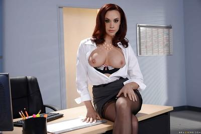 Beautiful office worker Chanel Preston striking hot poses in skirt and hose