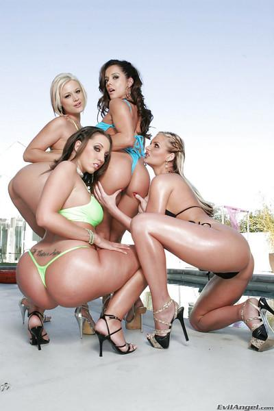 Steaming hot gals on high heels are into rough lesbian foursome