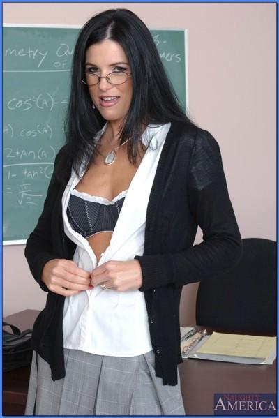 Brunette MILF teacher in glasses India Summer spreading her pink slit